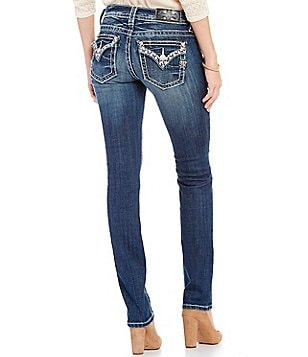 Miss Me Embellished Pocket Straight-Fit Mid-Rise Jeans