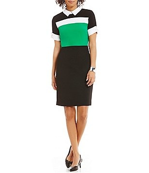 KARL LAGERFELD PARIS Point Collar Short Sleeve Colorblock Sheath Dress