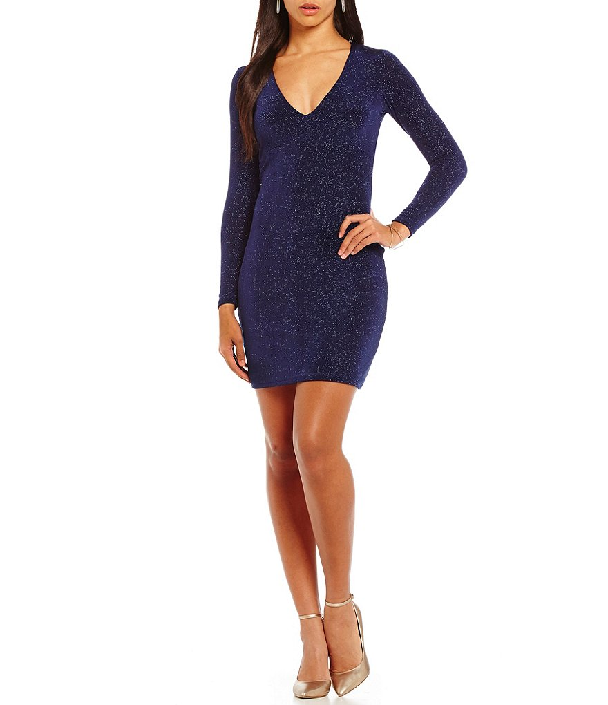 Jump Long-Sleeve Glitter-Accented V-Neckline Sheath Dress