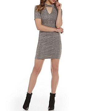 As U Wish Marled Ribbed Knit Choker Neck Sheath Dress