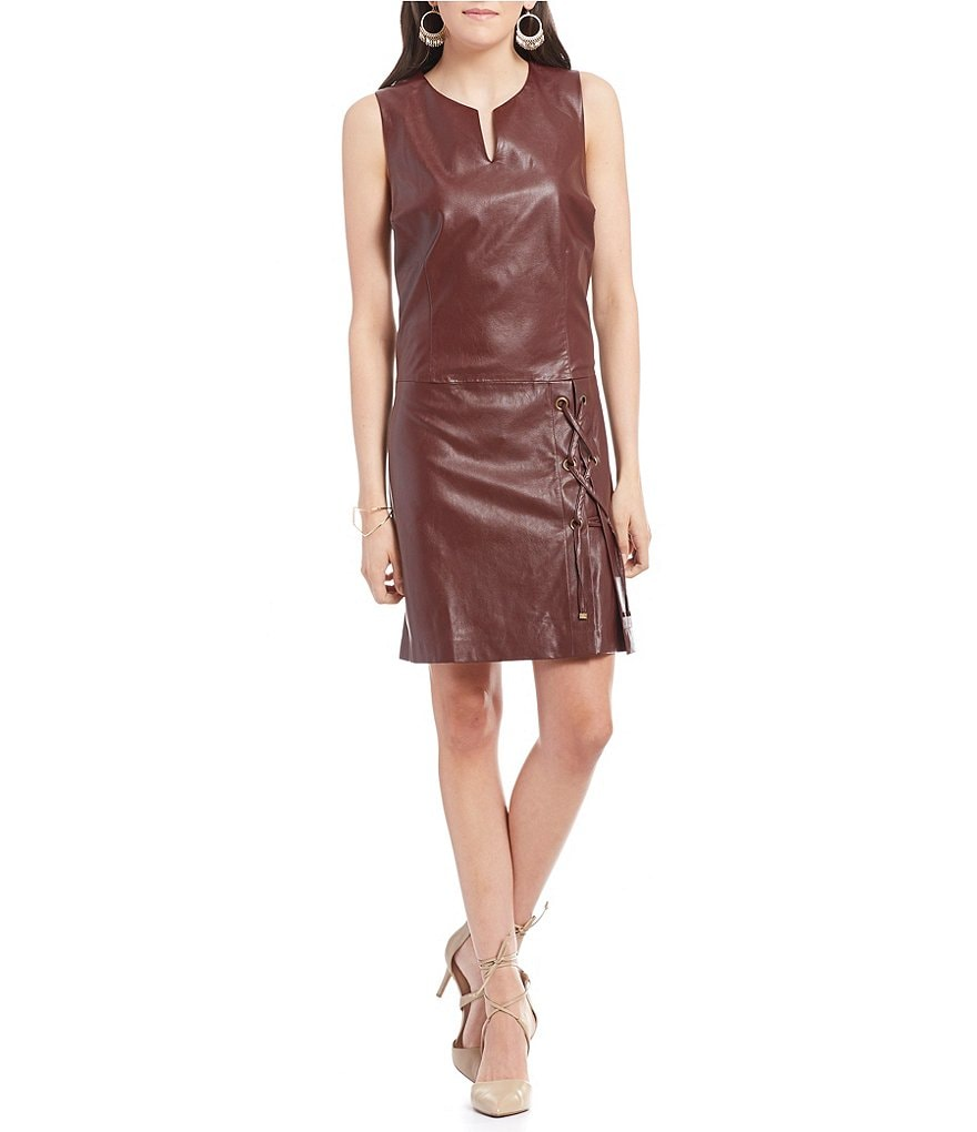 Laundry By Shelli Segal Sleeveless Shift Dress with Skirt Lace Up Detail