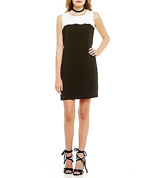 Laundry By Shelli Segal Color Blocked Sleeveless Dress with Fringe Zipper