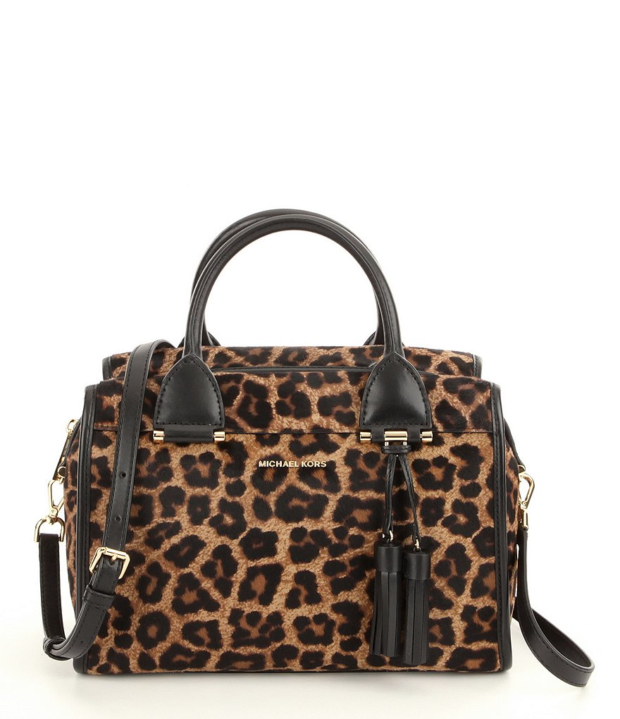 MICHAEL Michael Kors Geneva Tasseled Leopard-Print Haircalf Large Satchel