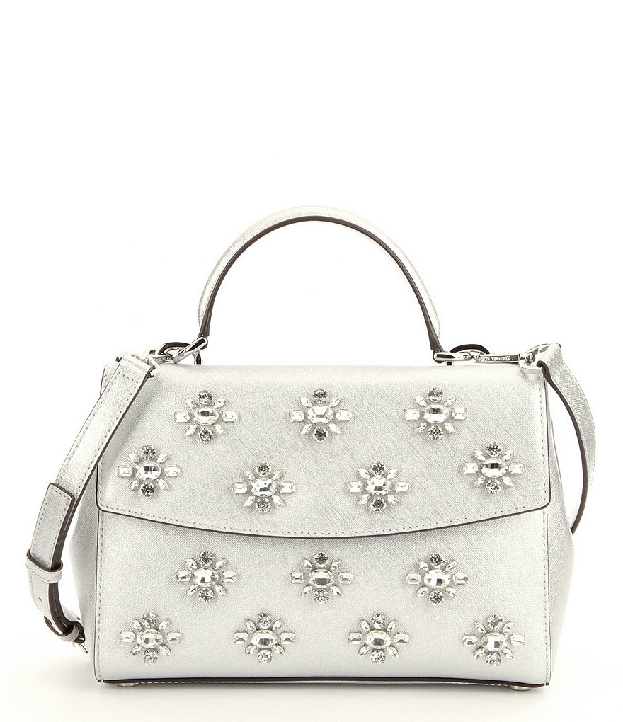 MICHAEL Michael Kors Ava Jeweled Top-Handle Small Satchel