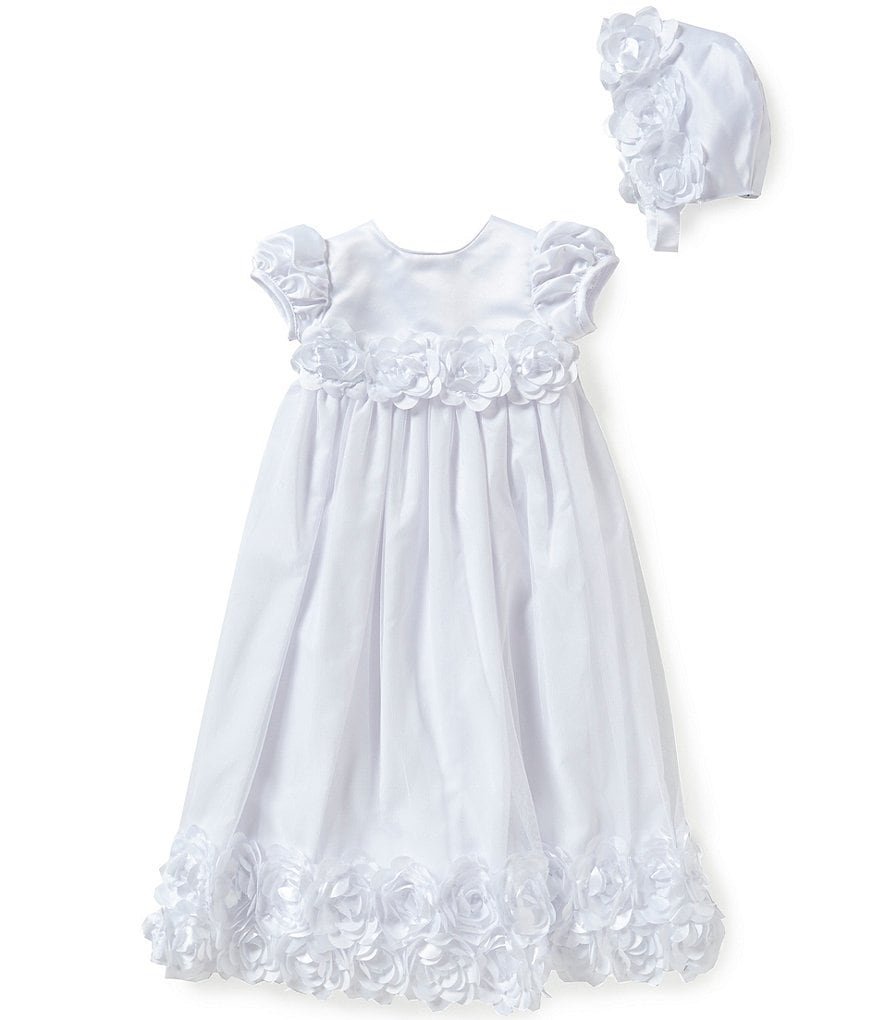 Edgehill Collection Baby Girls Newborn-12 Months Rose Christening Gown and Bonnet Set