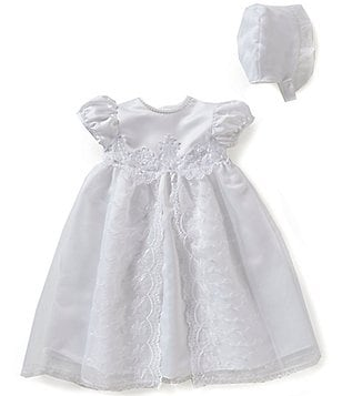 Edgehill Collection Baby Girls Newborn-12 Months Flower Christening Gown and Bonnet Set