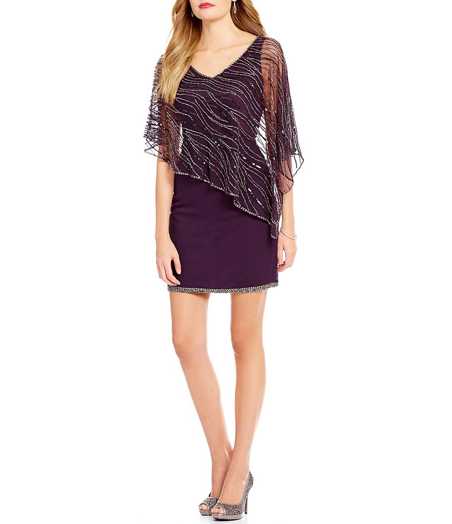 Jkara Beaded V-Neck Asymmetrical Capelet Dress