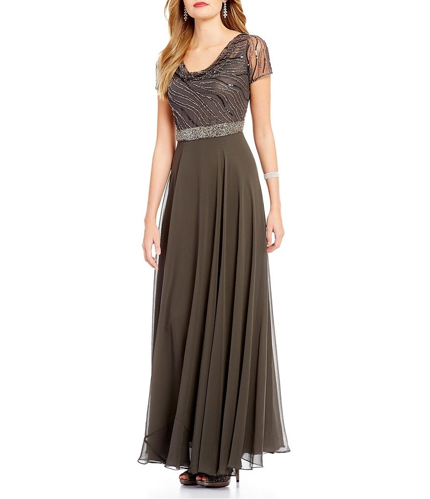 Jkara Beaded Bodice Cowl Neck Gown