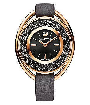 Swarovski Crystalline Oval Crystal Analog Leather-Strap Watch