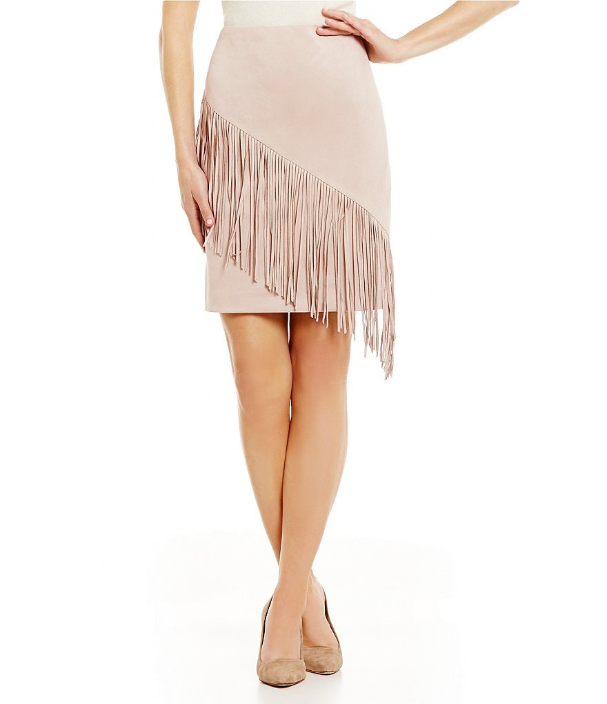 Antonio Melani Sybil Faux-Suede Fringe Pencil Skirt