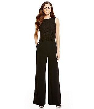 Antonio Melani Florence Crepe Scalloped Lace Jumpsuit