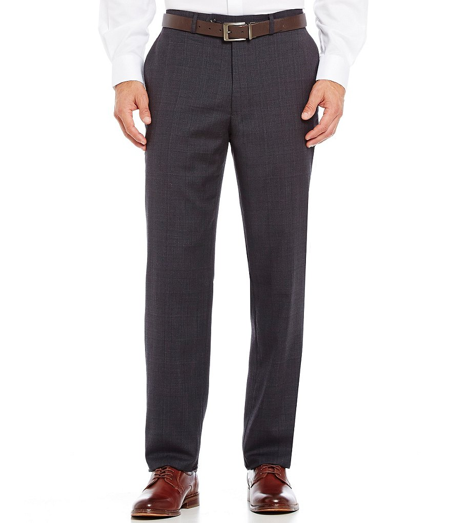 Hart Schaffner Marx New York Modern-Fit Flat-Front Plaid Dress Pants