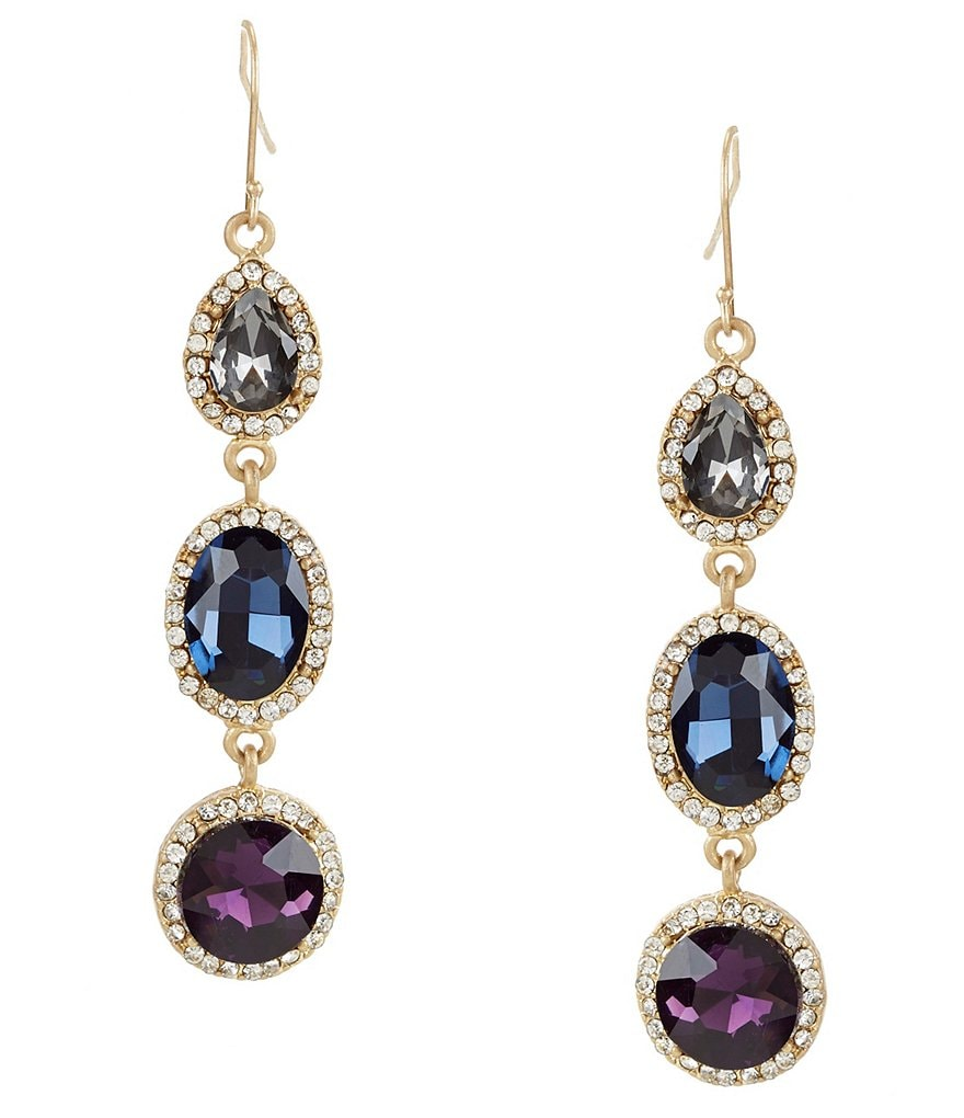 Belle Badgley Mischka Triple-Stone Drop Statement Earrings