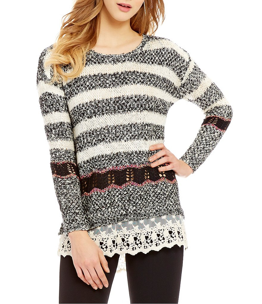 Takara Lace Hem Striped Sweater