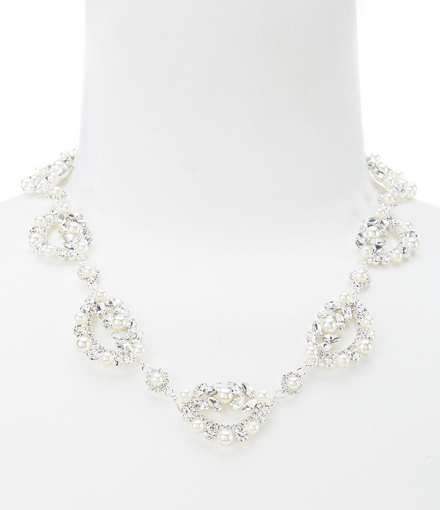 Cezanne Scalloped Pearl & Crystal Collar Necklace