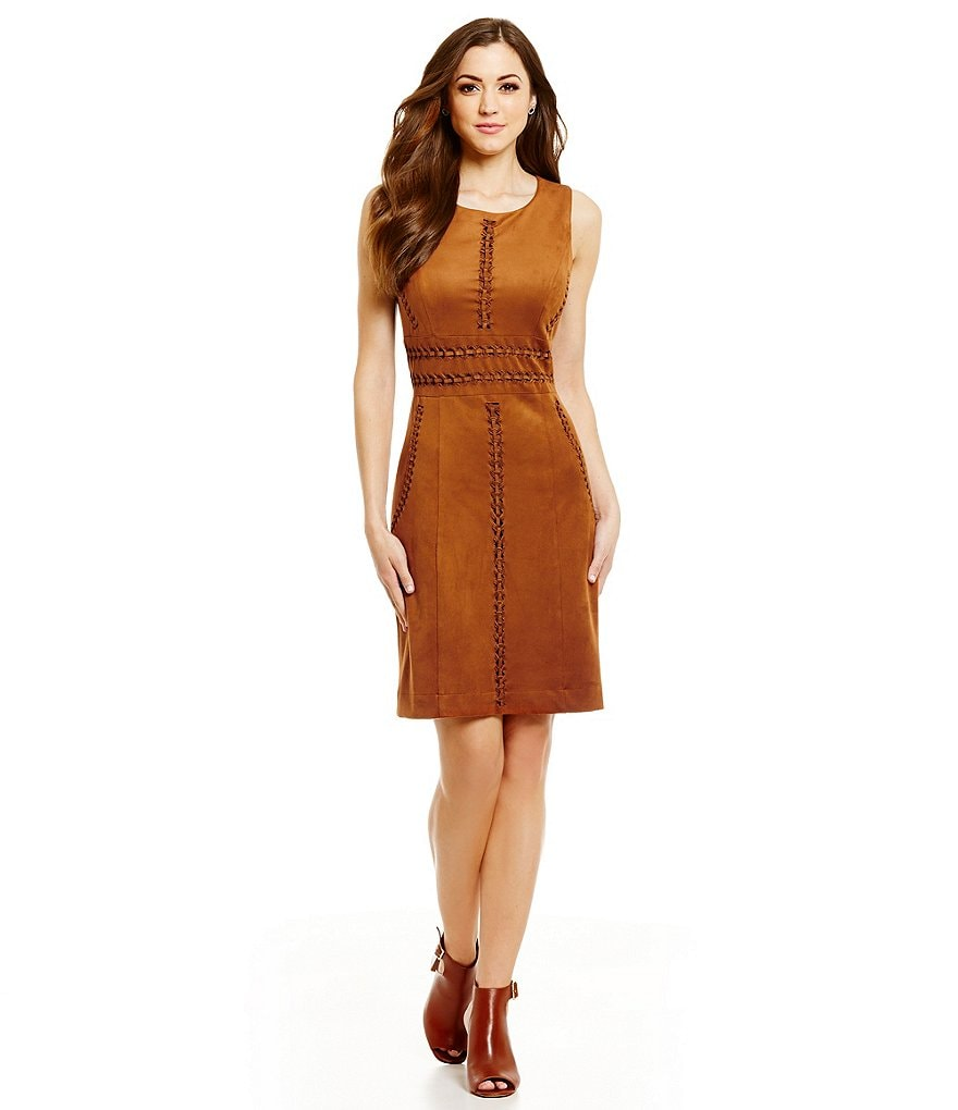 Antonio Melani Conor Faux-Suede Sleeveless Sheath Dress