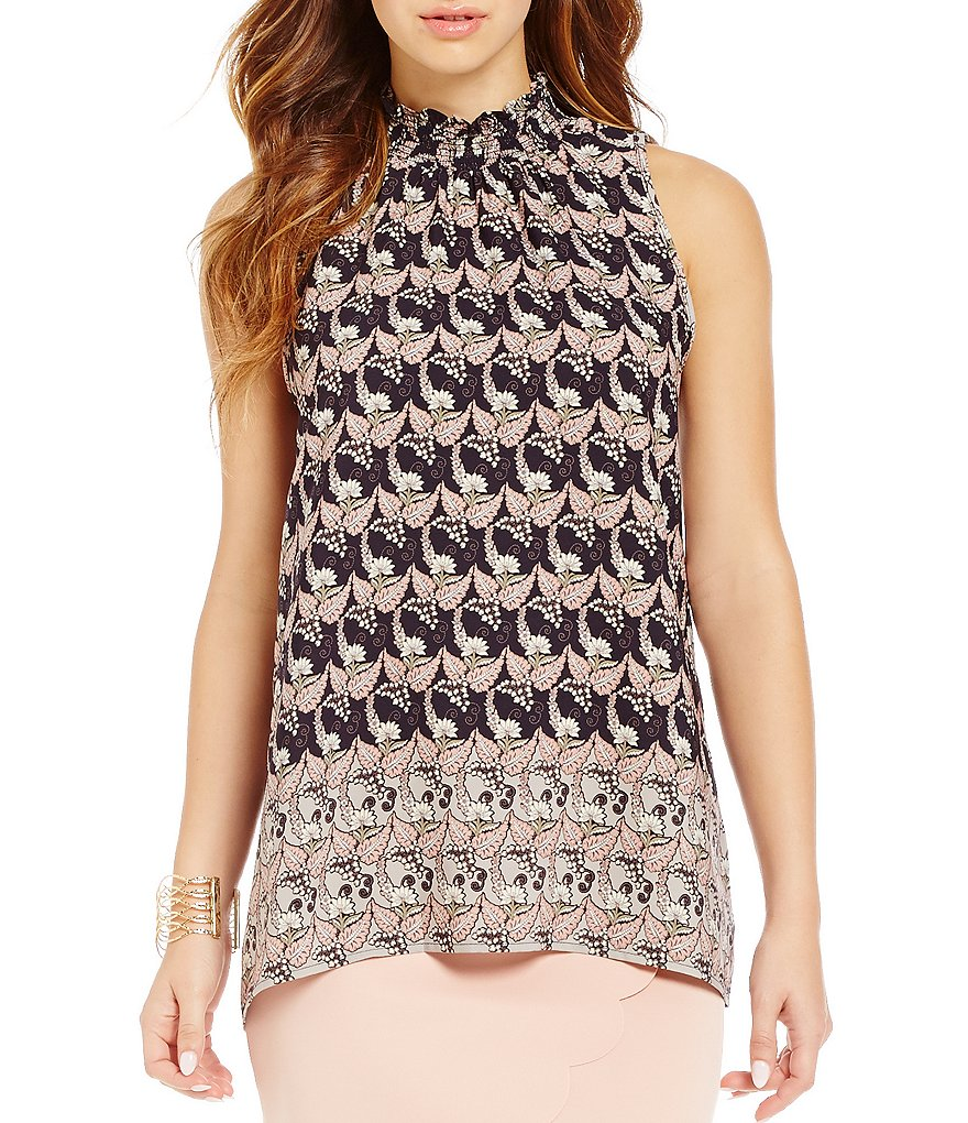 Soprano Smocked Mock Neck Printed Tank Top