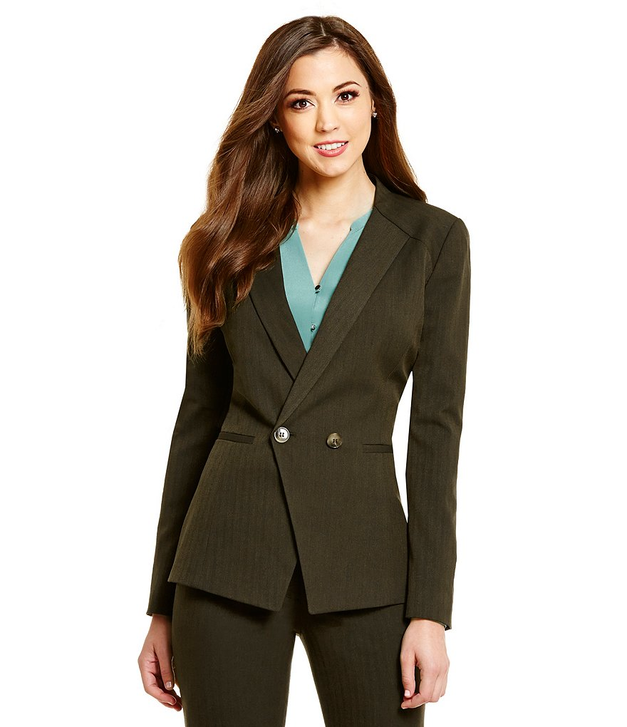 Antonio Melani Mecali V-Neck 2-Button Herringbone Jacket
