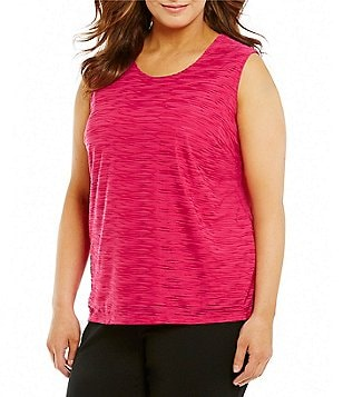 Allison Daley Plus Scoop Neck Solid Wave Burnout Knit Tank