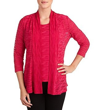 Allison Daley Open-Front Wave Burnout Knit Cardigan