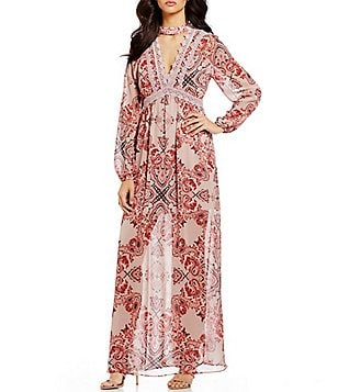 Coco + Jaimeson Printed Choker Neck Flowy Maxi Dress