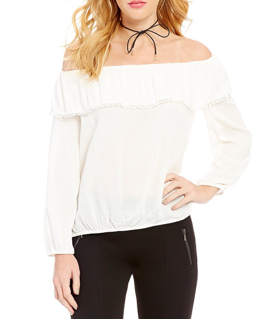 Takara Popover Off-The-Shoulder Pom Pom Trim Top
