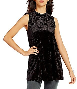 Moa Moa Mock Neck Velvet Tunic