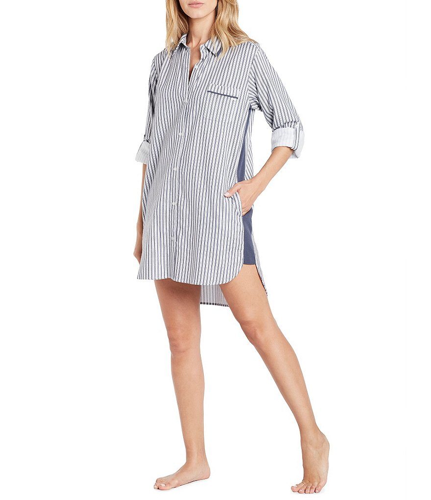 DKNY Striped Flannel Boyfriend Sleepshirt