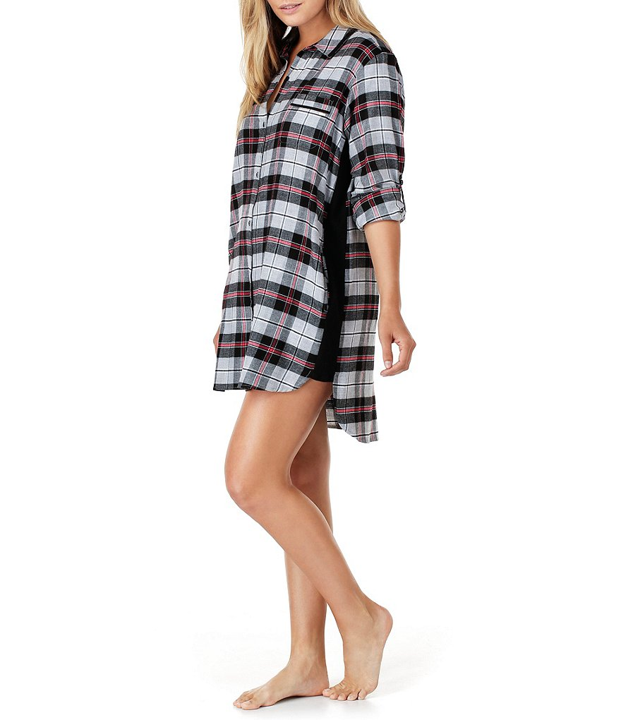 DKNY Plus Plaid Flannel Boyfriend Sleepshirt