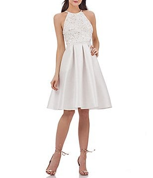 Carmen Marc Valvo Infusion Halter Beaded Bodice Fit and Flare Dress