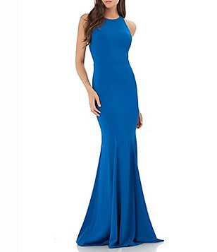 Carmen Marc Valvo Sleeveless Infusion Beaded Crepe Gown