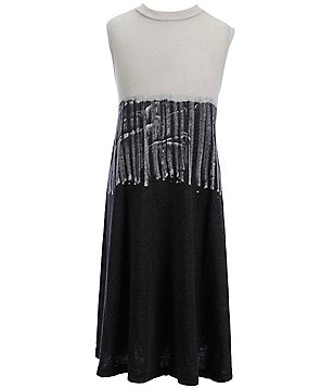 People´s Project LA Big Girls 7-16 Doma Mockneck Color Block Tie-Dye Skirt Dress