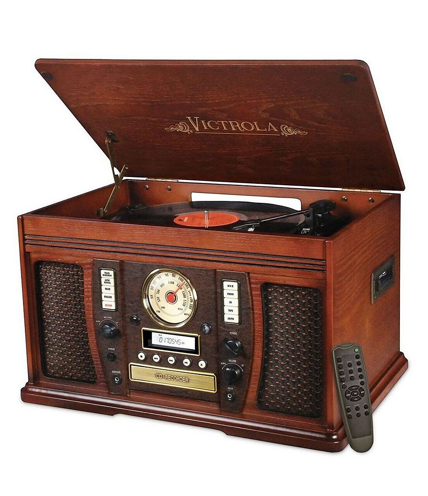 Innovative Technology Mahogany Victrola Aviator 7-in-1 Bluetooth Music Center