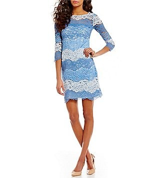 Eliza J Multi Tonal Scalloped Lace 3/4 Sleeve Shift Dress