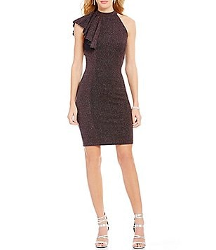 Mystic One Shoulder Ruffle-Sleeve Glitter Knit Sheath Dress