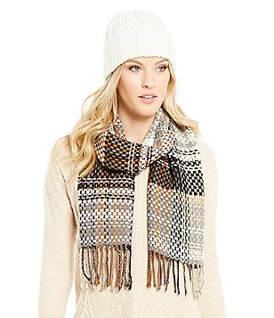 Echo Woven Muffler & Knit-Cuff Hat Gift Set