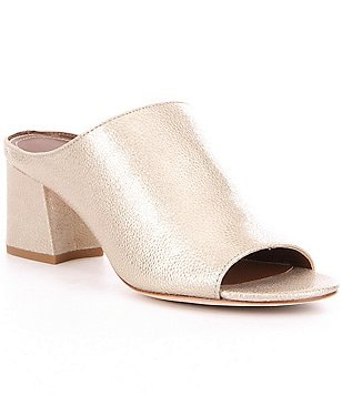 Donald J Pliner Ellis Patent Crackle Leather Peep-Toe Slip-On Mules