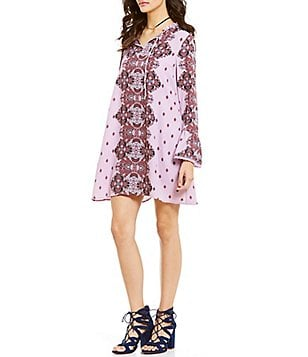 Coco + Jaimeson Tie Neckline Printed Long Bell Sleeve Shift Dress