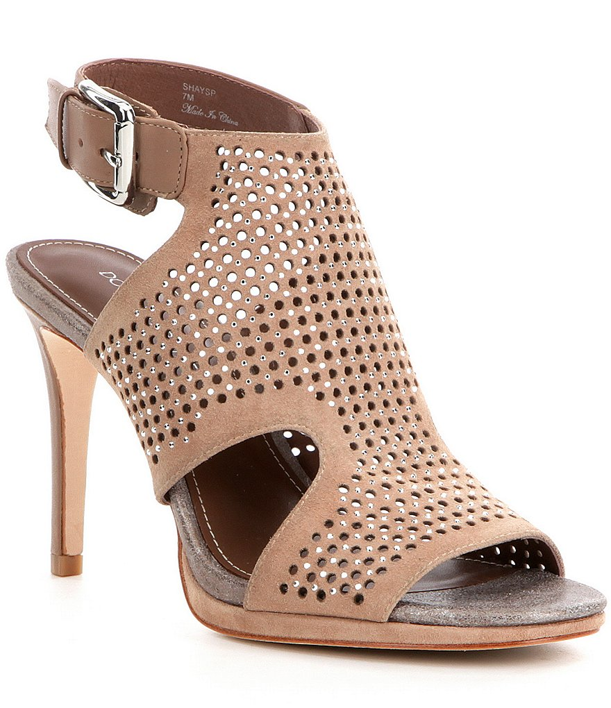 Donald J Pliner Shay Perforated Studded Peep Toe Dress Shooties