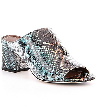 Donald J Pliner Ellis Snake Print Leather Peep-Toe Slip-On Mules