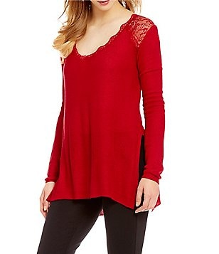 Takara Lace Shoulders Tie-Back Sweater