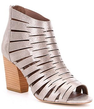 Donald J Pliner Greece Metallic Leather Laser Cutout Peep-Toe Shooties