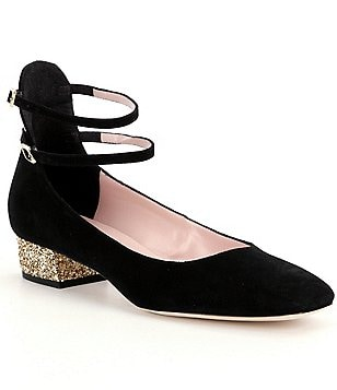 kate spade new york Velvet Marcelina Double Ankle Strap Glitter Block Heel Pumps