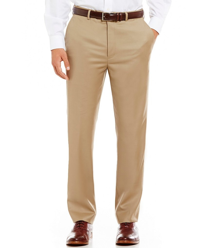 Roundtree & Yorke Classic Fit Flat Front Wool Dress Pants