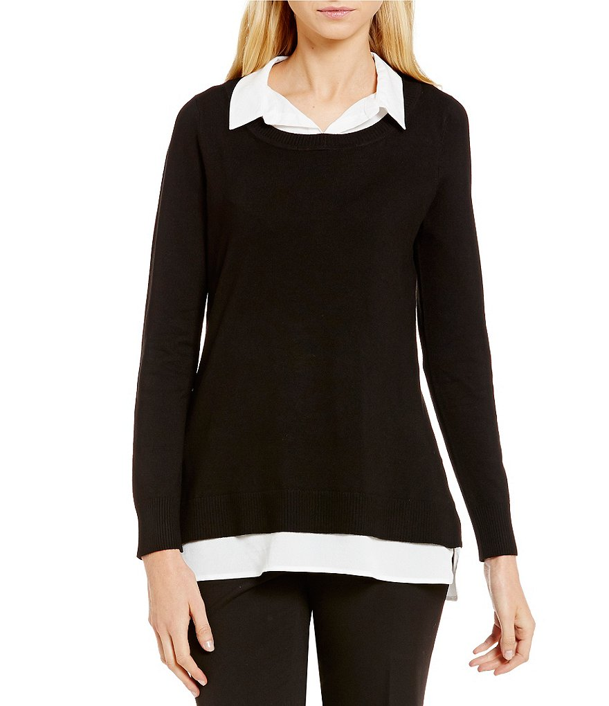Calvin Klein Fine Gauge Knit With Collar and Shirttail Hem Sweater