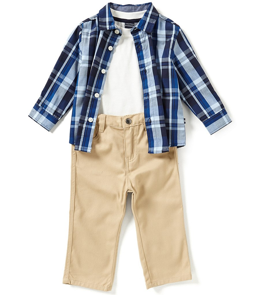 Nautica Baby Boys 12-24 Months Plaid Long-Sleeve Woven Shirt, Solid Tee & Pant Set