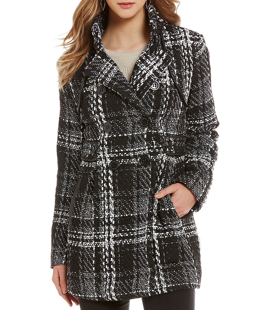 I.N. San Francisco Plaid Houndstooth Double-Breasted Peacoat