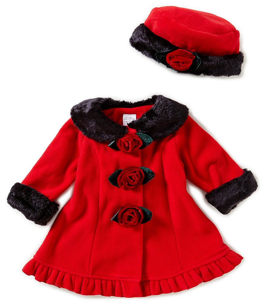 Starting Out Baby Girls 3-24 Months Faux-Fur Fleece Flower Button Coat