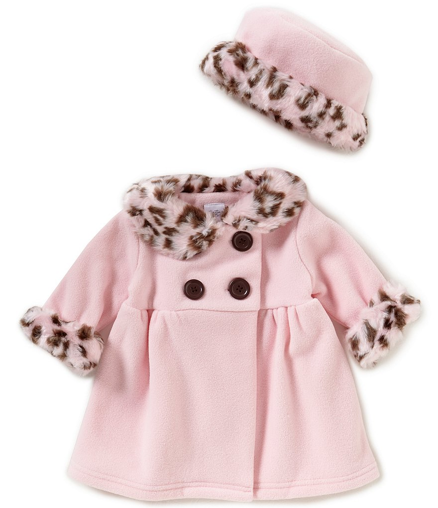 Starting Out Baby Girls 3-24 Months Faux Fur Trim Collared Coat