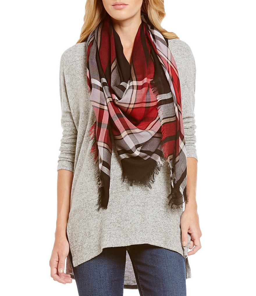 Landry Frayed Plaid Scarf